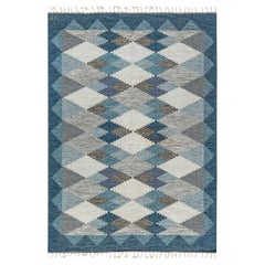 Handwoven Midcentury Scandinavian Flat-Weave Rug in Blues and Greys