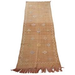 Hand Woven Moroccan Cactus Silk Style Flat-Weave Kilim Runner