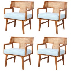 Hand Woven Natural Rattan Dining Chairs. Set of 4