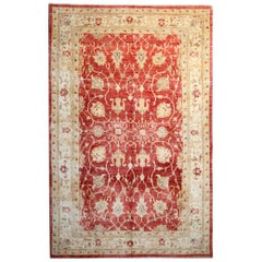 Handwoven Red Rug, Oriental Rugs Carpet Ziegler Style Rug Gold Border