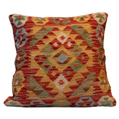 Hand Woven Rose Cut Decorative Pillow, Bench Cushion Cover Hand Knotted