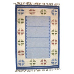 "Handwoven Rug / Carpet of Wool in ""Rölakan"" Technique, 1960s"
