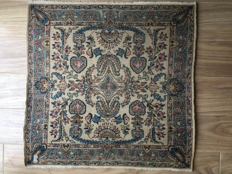 Handwoven Square Fine Wool Persian Rug For Sale 8