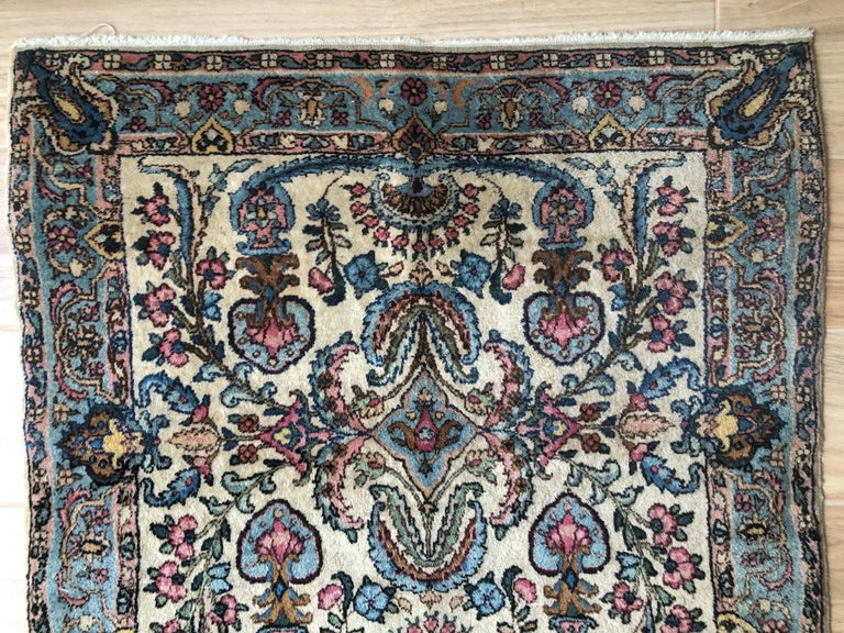 Hand-Woven Handwoven Square Fine Wool Persian Rug For Sale