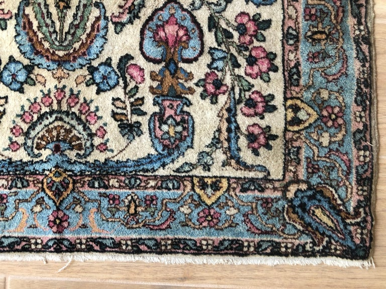 Handwoven Square Fine Wool Persian Rug For Sale 1