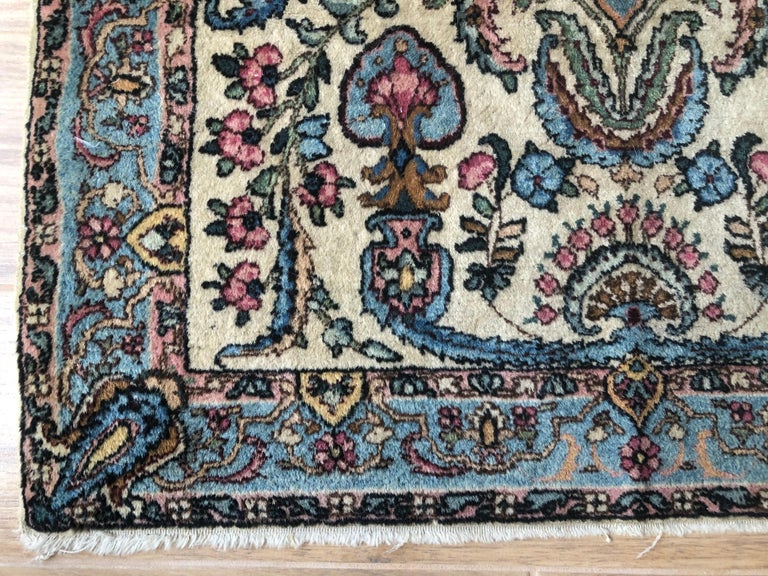 Handwoven Square Fine Wool Persian Rug For Sale 2