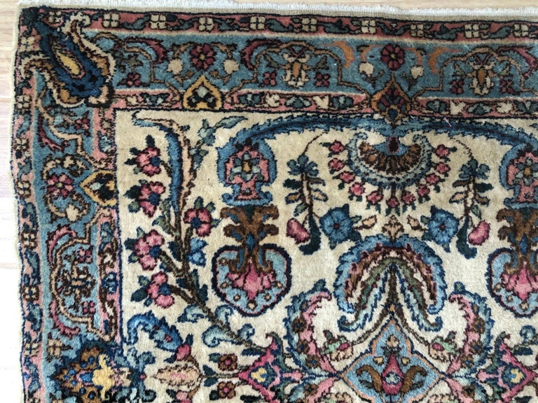 Handwoven Square Fine Wool Persian Rug For Sale 3