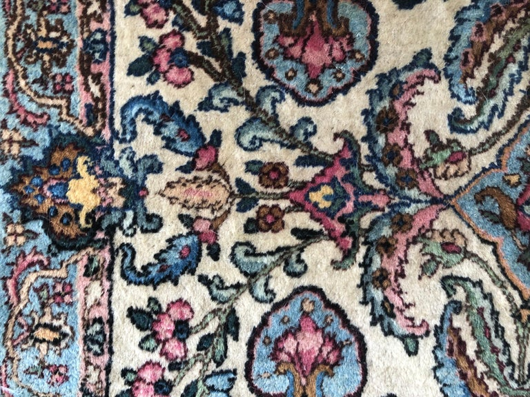 Handwoven Square Fine Wool Persian Rug For Sale 4