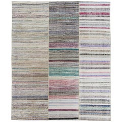 Hand-Woven Striped Cotton Turkish Rag Rug, Flatweave Floor Covering
