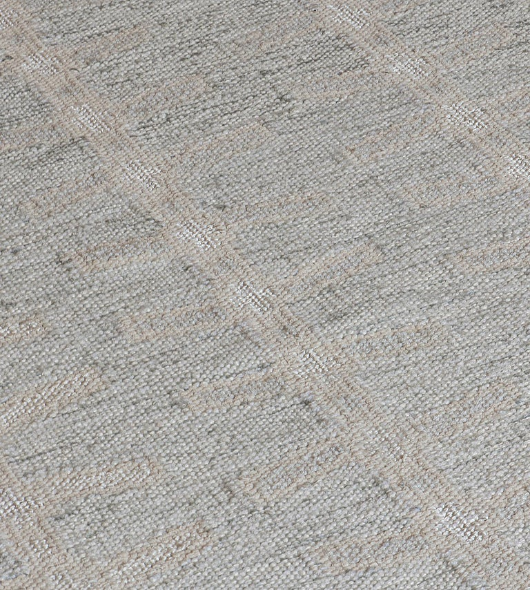 Kilim Handwoven Swedish Inspired Wool Flat-Weave Rug For Sale