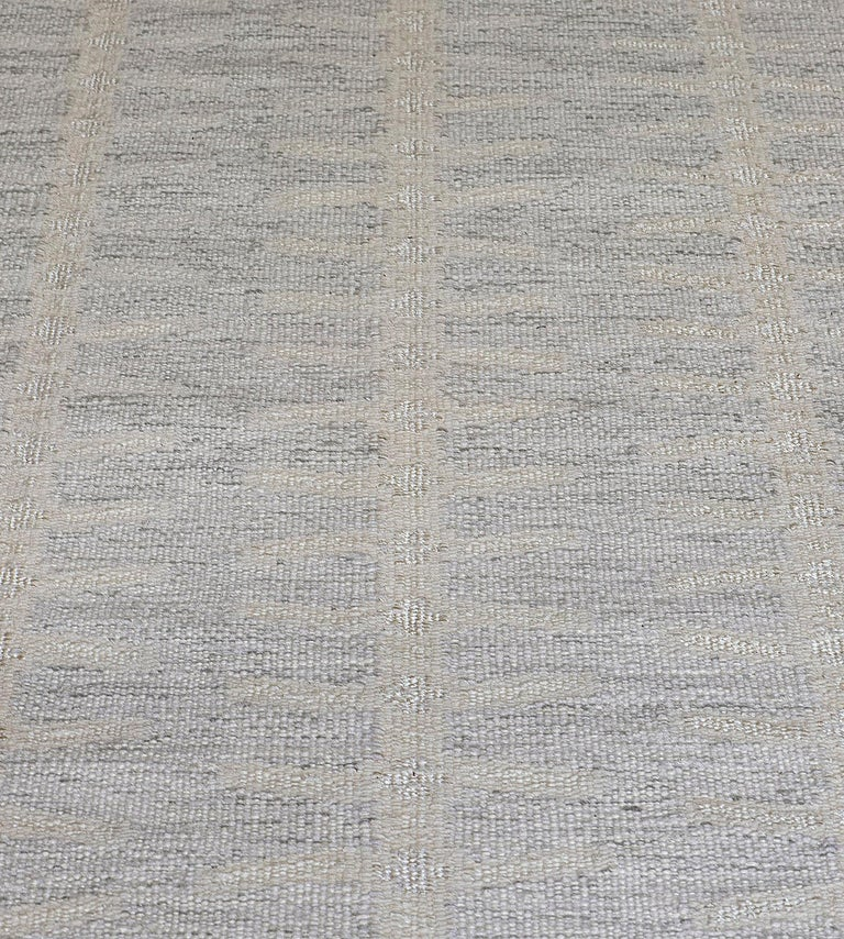 Indian Handwoven Swedish Inspired Wool Flat-Weave Rug For Sale