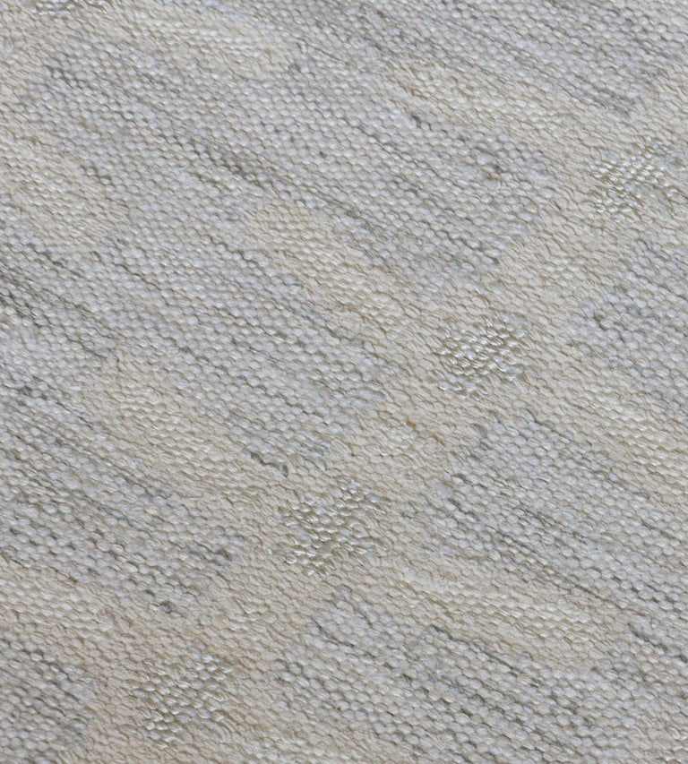 Hand-Woven Handwoven Swedish Inspired Wool Flat-Weave Rug For Sale