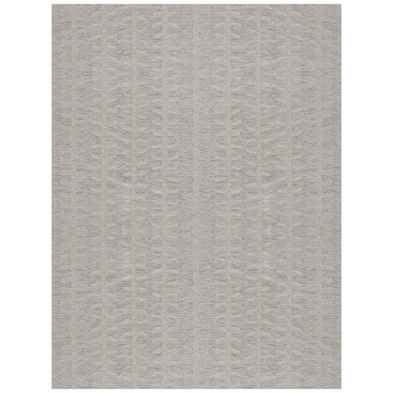 Handwoven Swedish Inspired Wool Flat-Weave Rug For Sale