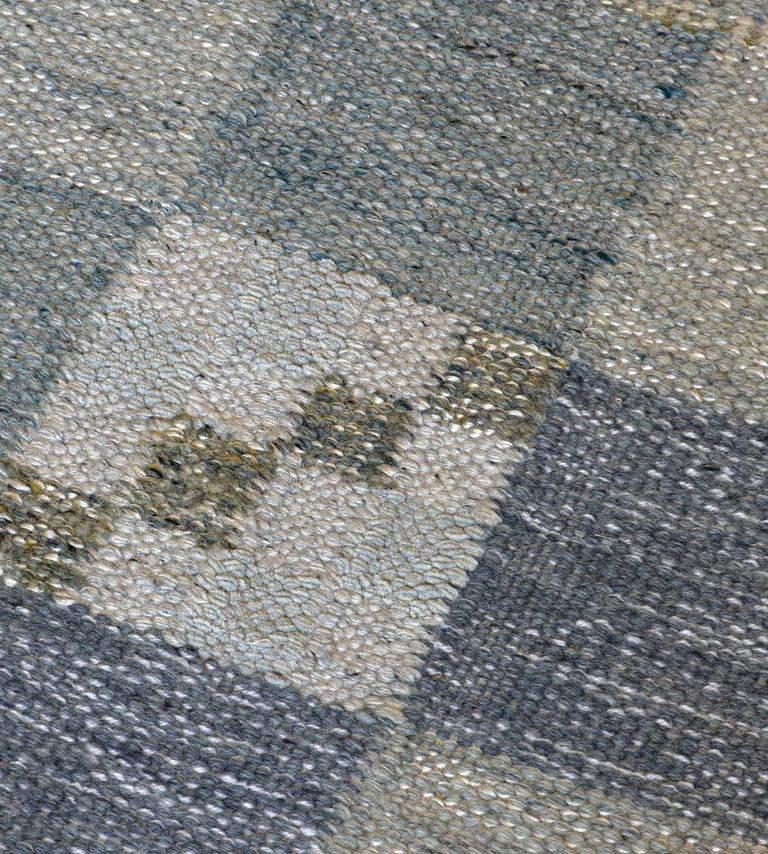 Hand-Woven Handwoven Swedish Kilim Style Wool Rug For Sale