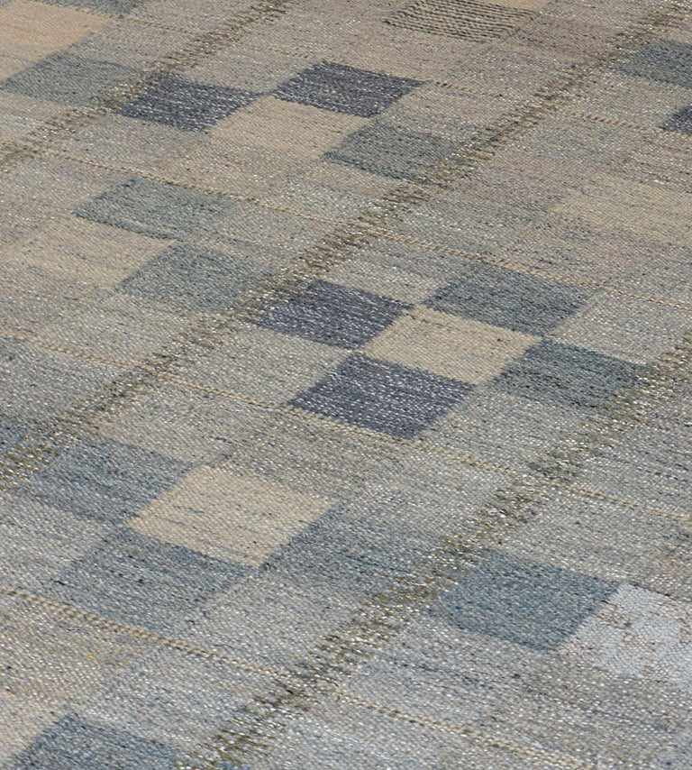 Contemporary Handwoven Swedish Kilim Style Wool Rug For Sale