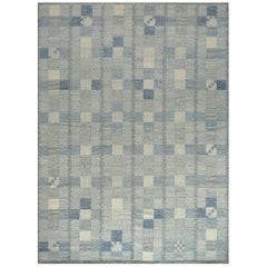 Handwoven Swedish Kilim Style Wool Rug