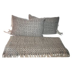 Handwoven Throw & Matching Pillows, 3 Pcs of Set