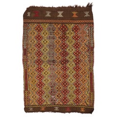Hand-Woven Vintage Nomadic Anatolian Kilim. 3x4.2 Ft. Seating Cover or Door Mat