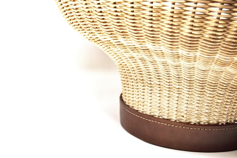 Contemporary Handwoven Wicker and Leather Centerpiece 'Mawa' For Sale
