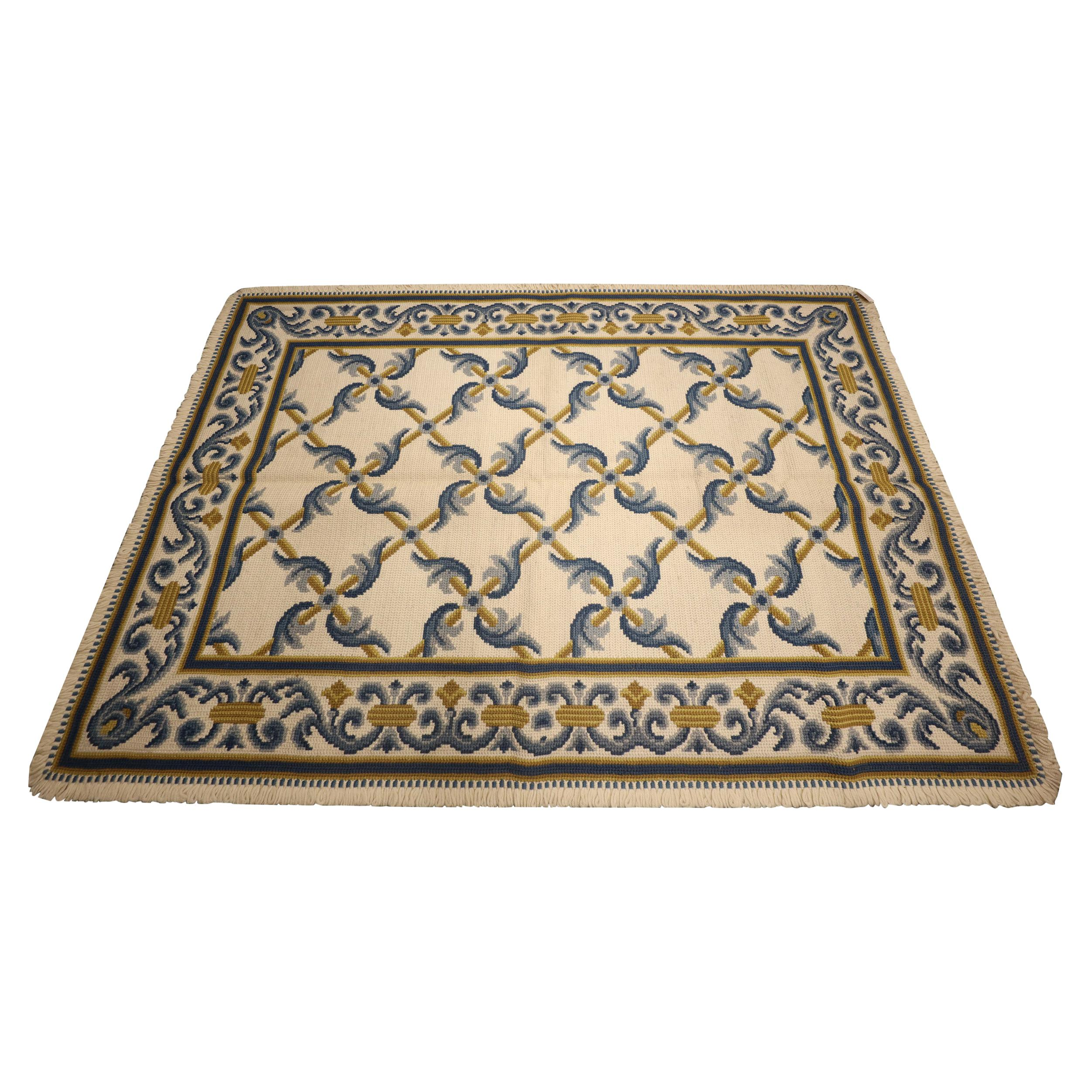 Hand Woven Wool Needlepoint Rug Traditional Blue Cream Carpet Rugs