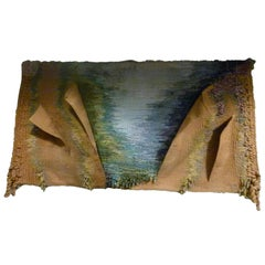 Handwoven Wool Tapestry Picturing the Costa Brava, Spain