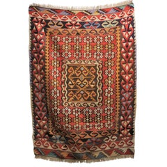 Handwoven Wool Turkish Kilim in a Red Tribal Style Print