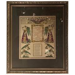 """Hand Written """"Fraktur"""" Birth Announcement, 1854"""