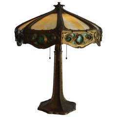 Handwrought Bronze Arts & Crafts Lamp with Bent Glass