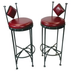 Handwrought Iron and Leather Vintage Bar Stools, 1970s