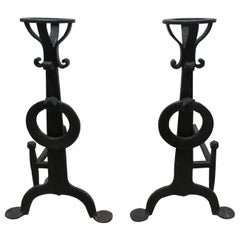 Handwrought Iron Andirons, Set of Two