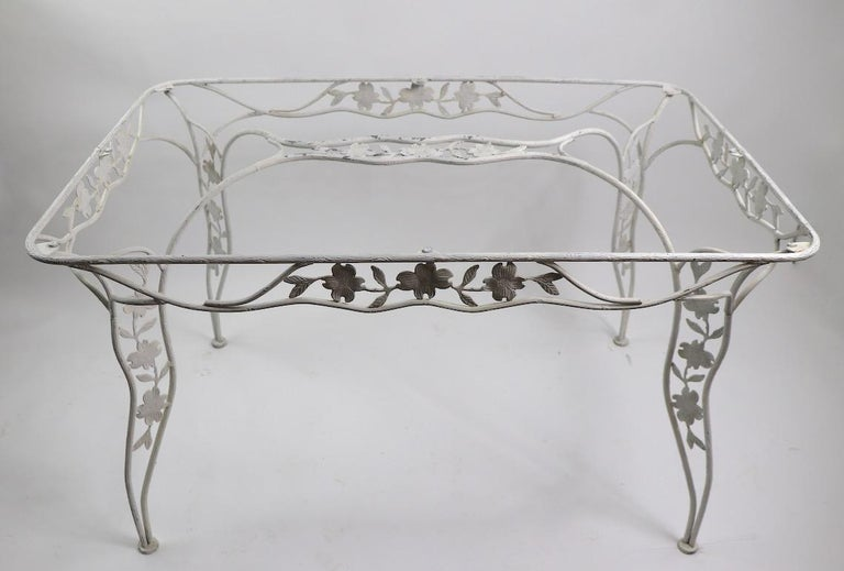 Art Deco Handwrought Metal and Glass Garden Patio Dining Table For Sale
