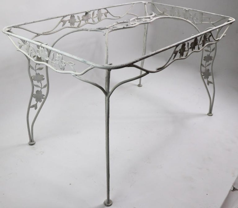 20th Century Handwrought Metal and Glass Garden Patio Dining Table For Sale
