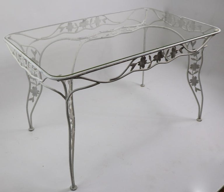 Handwrought Metal and Glass Garden Patio Dining Table For Sale 2