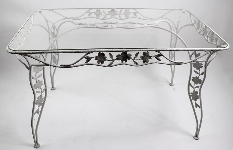 Handwrought Metal and Glass Garden Patio Dining Table For Sale 3
