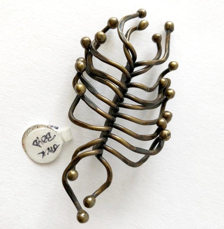 Artisan Hand Wrought Studio Organic Modern Sculptural Bronze Brooch For Sale