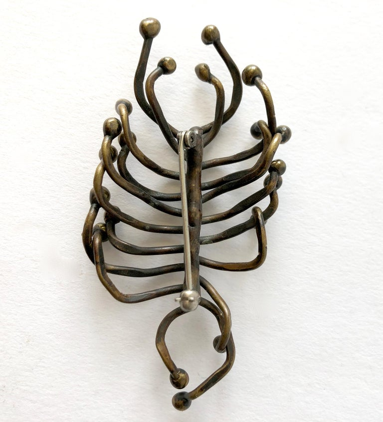 Hand Wrought Studio Organic Modern Sculptural Bronze Brooch In Good Condition For Sale In Los Angeles, CA