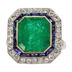 Handame Platinum Emerald, Sapphire and Diamonds Ring