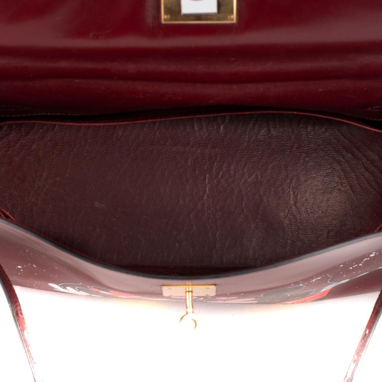 Handbag Hermès Kelly 32 in burgundy calfskin customized