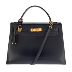 Handbag Hermès Kelly sellier 32 in calfskin blue navy with strap, gold hardware!