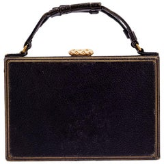 Handbag Josef Hoffmann Leather Gold Embossed Wiener Werkstatte, circa 1924