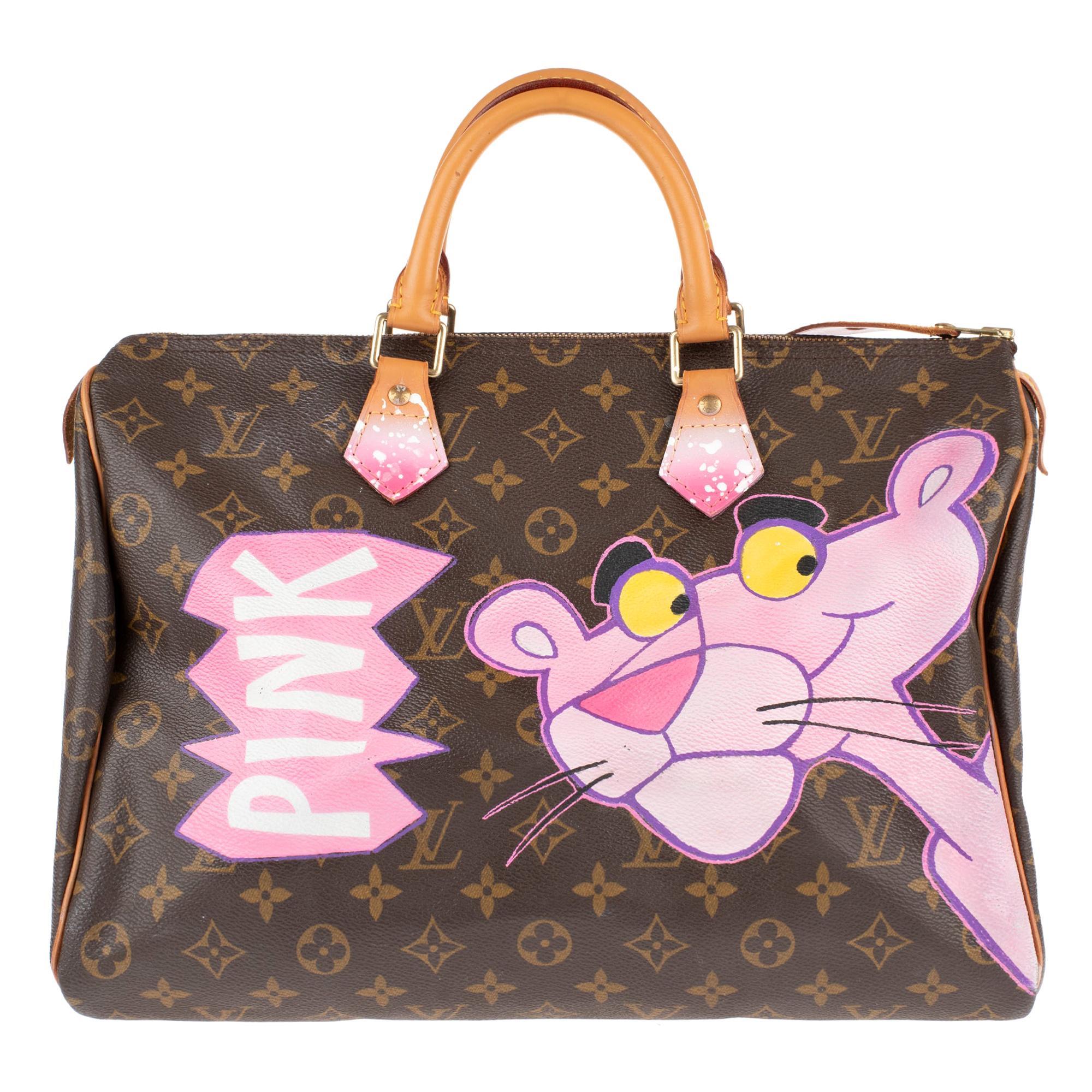 "Handbag Louis Vuitton Speedy 35 Monogram customized ""Pink Panther I"" by PatBo !"