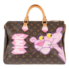 "Handbag Louis Vuitton Speedy 35 Monogram customized ""Pink Panther I"" by PatBo !"
