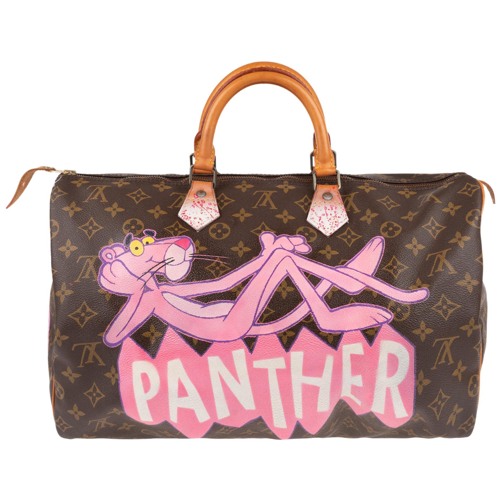 "Handbag Louis Vuitton Speedy 40 in Monogram canvas customized ""Pink Panther II"""
