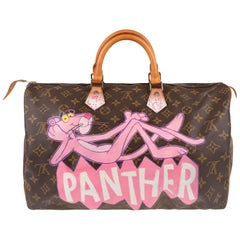 "Handbag Louis Vuitton Speedy 40 in Monogram canvas customized ""Pink Panther II"""