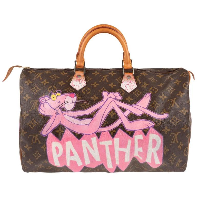 "Handbag Louis Vuitton Speedy 40 in Monogram canvas customized ""Pink Panther II"" For Sale"