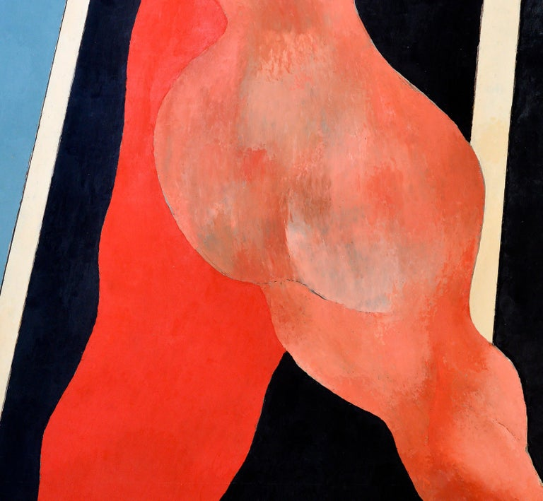 Modern Handball in the Sky, Blue, Orange, Red on a Black and White Background, 1977 For Sale