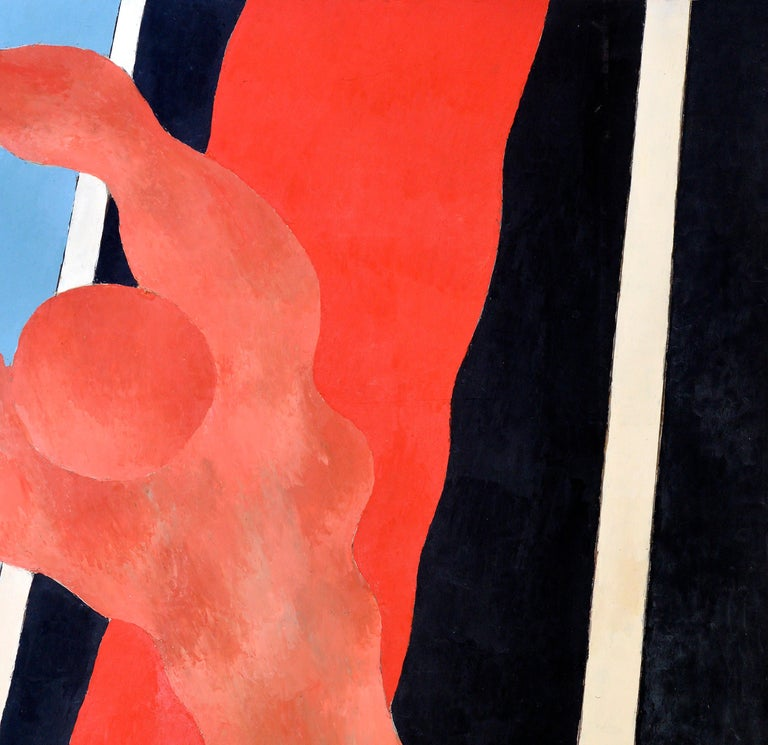 French Handball in the Sky, Blue, Orange, Red on a Black and White Background, 1977 For Sale