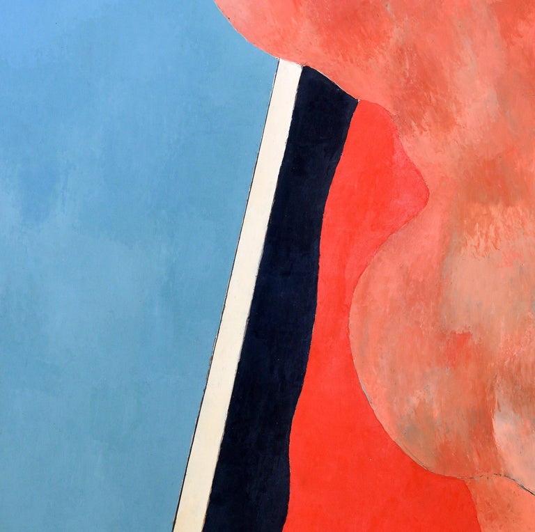 Handball in the Sky, Blue, Orange, Red on a Black and White Background, 1977 In Excellent Condition For Sale In Miami, FL