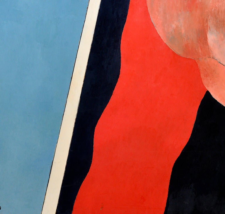 Handball in the Sky, Blue, Orange, Red on a Black and White Background, 1977 For Sale 1