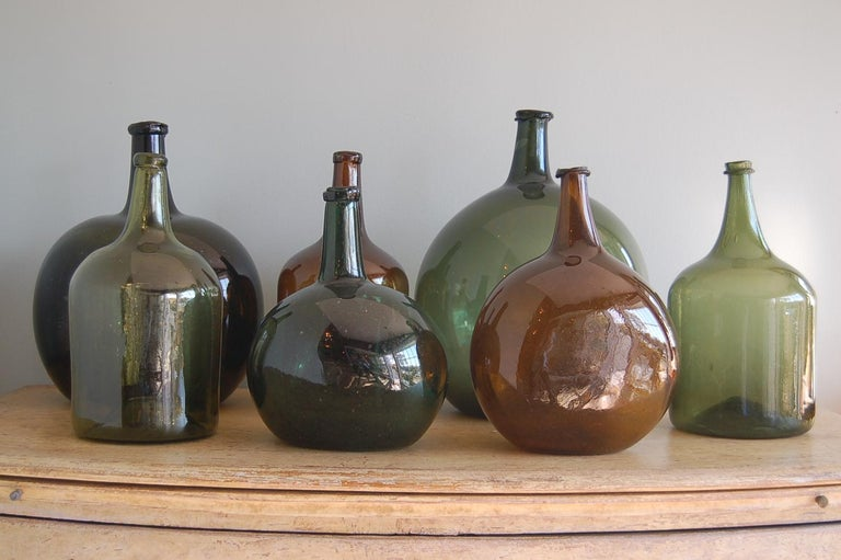 Hand-Crafted Handblown 19th Century Green Glass Bottle with Cork, Origin Sweden, circa 1890 For Sale